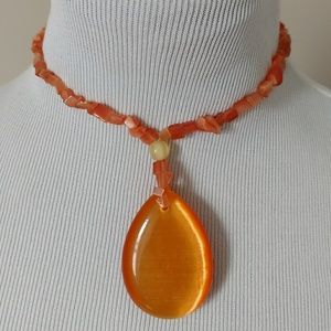 Orange Crystal Teardrop Choker